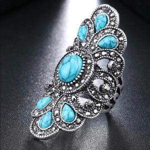 Silver Plated Boho Vintage Blue Stone Fashion Ring
